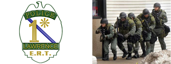 Emergency Response Team badge and image of five officers in gear on a mission