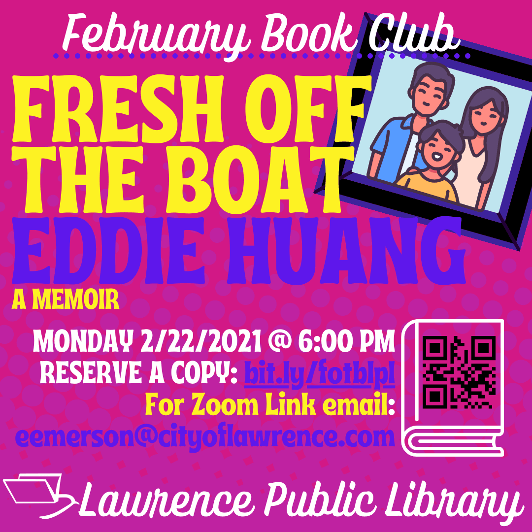 "An image of the February book club flyer ""Fresh off the boat"" by Eddie Huang"