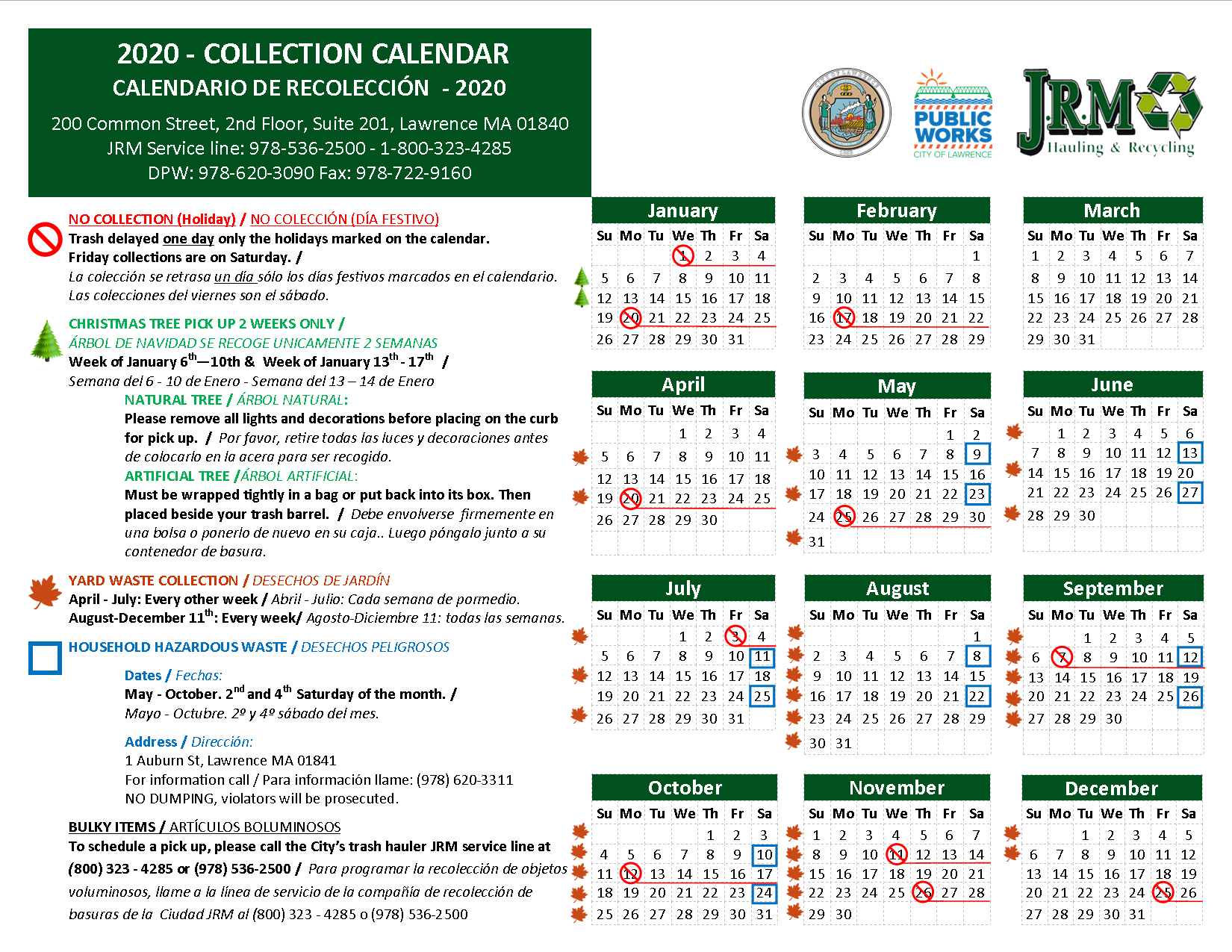 Jackson Township Ohio Christmas Tree Disposal 2020 Solid Waste Collection Schedule | Lawrence, MA