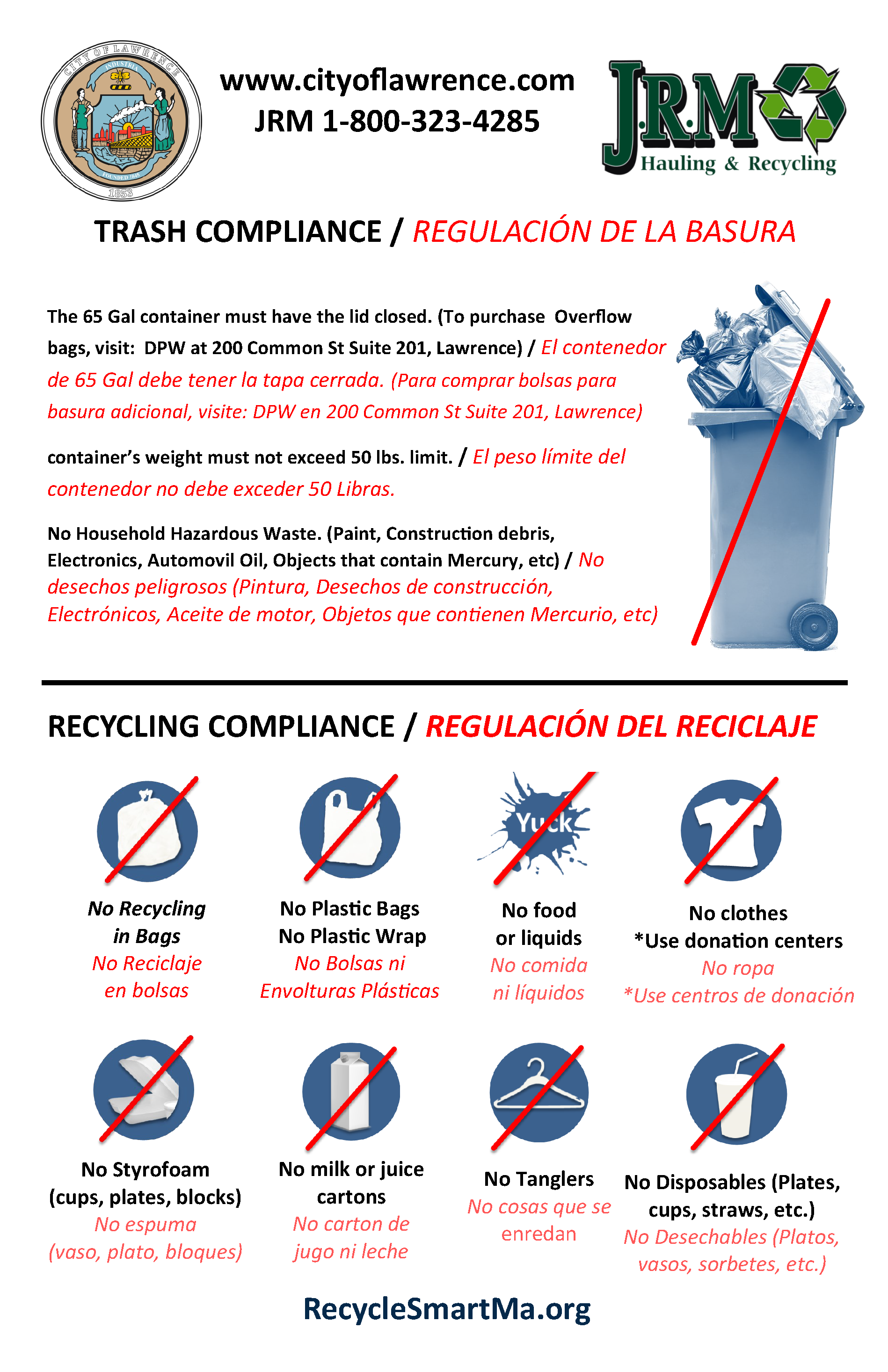 Trash and Recycling Compliance - Regulacion de Basura y Reciclaje